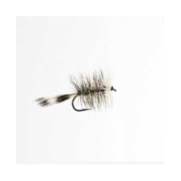 Mouche sèche palmer bicolore grizzly/blanc